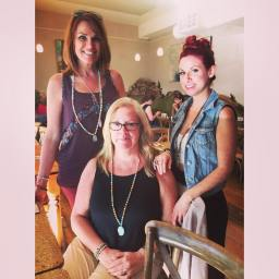 Showing off my new mala beads with dear friends Dawn and Taryn from SheRecovers.